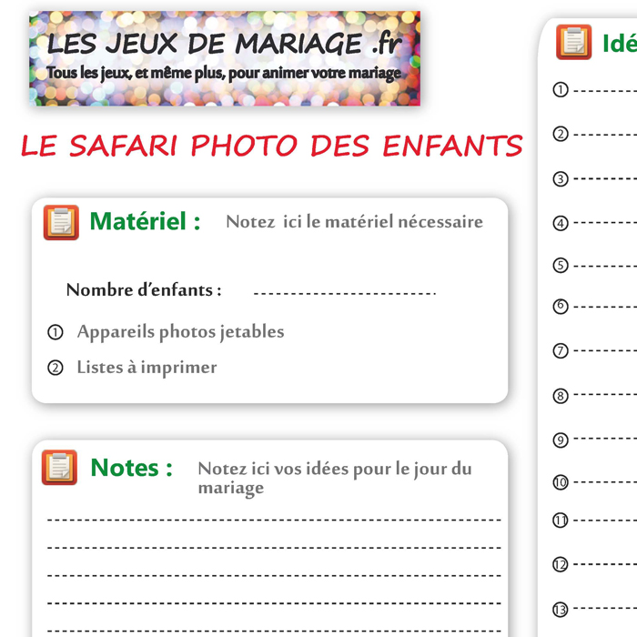 fiche du jeu de mariage le safari photo pour les enfants les jeux de. Black Bedroom Furniture Sets. Home Design Ideas
