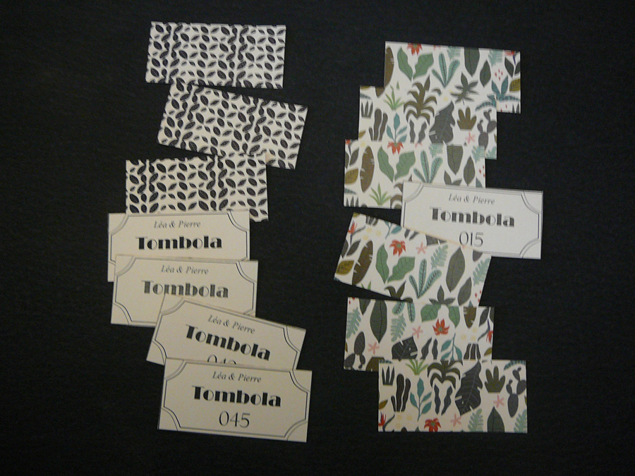 Tickets tombola mariage